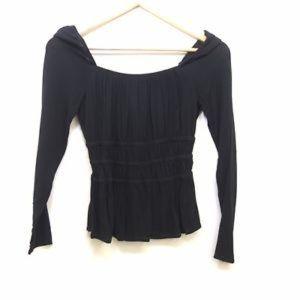 Cinched waist long sleeve smocked shirt